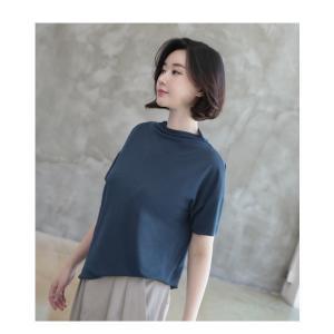 Tシャツ レディース 40代 50代 60代 ファッション 女性 上品  黒 グレー スラブ生地 トップス 無地 半袖 春 ミセス alice-style 10