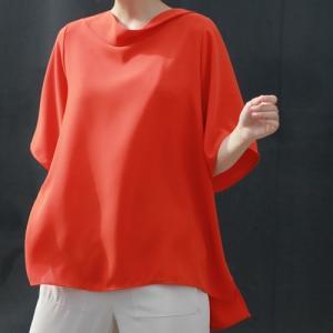 ブラウス レディース 40代 50代 60代 ファッション 女性 上品  黒 無地 ゆったり 体形カバー 半袖 春夏 ミセス|alice-style