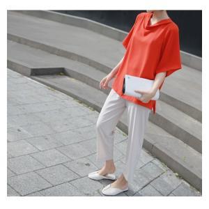 ブラウス レディース 40代 50代 60代 ファッション 女性 上品  黒 無地 ゆったり 体形カバー 半袖 春夏 ミセス|alice-style|03