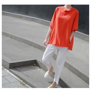 ブラウス レディース 40代 50代 60代 ファッション 女性 上品  黒 無地 ゆったり 体形カバー 半袖 春夏 ミセス|alice-style|21