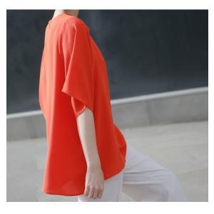 ブラウス レディース 40代 50代 60代 ファッション 女性 上品  黒 無地 ゆったり 体形カバー 半袖 春夏 ミセス|alice-style|08
