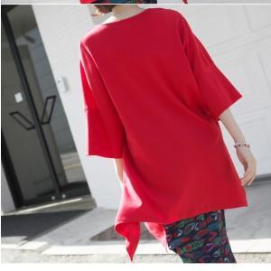 ブラウス レディース 40代 50代 60代 ファッション 女性 上品  黒 白 赤7分袖 無地 トップス 春 ミセス|alice-style|12
