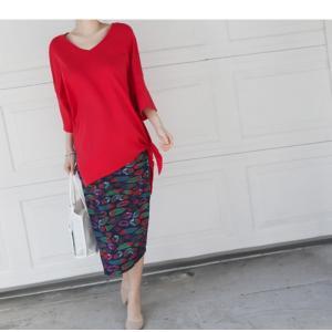 ブラウス レディース 40代 50代 60代 ファッション 女性 上品  黒 白 赤7分袖 無地 トップス 春 ミセス|alice-style|16