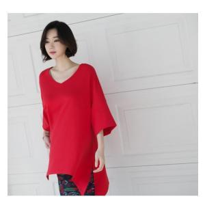 ブラウス レディース 40代 50代 60代 ファッション 女性 上品  黒 白 赤7分袖 無地 トップス 春 ミセス|alice-style|20