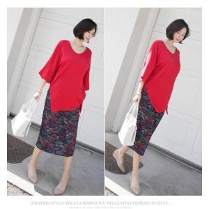 ブラウス レディース 40代 50代 60代 ファッション 女性 上品  黒 白 赤7分袖 無地 トップス 春 ミセス|alice-style|03