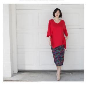ブラウス レディース 40代 50代 60代 ファッション 女性 上品  黒 白 赤7分袖 無地 トップス 春 ミセス|alice-style|04
