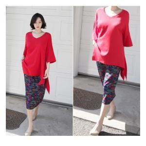ブラウス レディース 40代 50代 60代 ファッション 女性 上品  黒 白 赤7分袖 無地 トップス 春 ミセス|alice-style|08