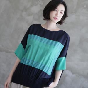 ブラウス レディース 40代 50代 60代 ファッション 女性 上品  黒 紺 青半袖 プリント トップス 春 ミセス|alice-style