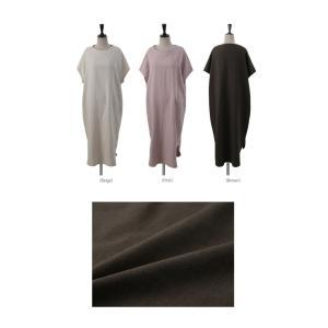 ワンピース レディース 40代 50代 60代 ファッション 女性 上品  茶色 ベージュリネン 半袖 ロング丈 無地 きれいめ 春 ミセス|alice-style|02