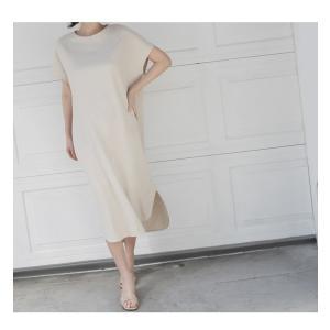 ワンピース レディース 40代 50代 60代 ファッション 女性 上品  茶色 ベージュリネン 半袖 ロング丈 無地 きれいめ 春 ミセス|alice-style|14