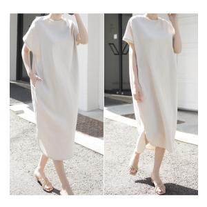 ワンピース レディース 40代 50代 60代 ファッション 女性 上品  茶色 ベージュリネン 半袖 ロング丈 無地 きれいめ 春 ミセス|alice-style|18