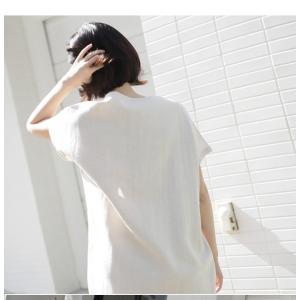 ワンピース レディース 40代 50代 60代 ファッション 女性 上品  茶色 ベージュリネン 半袖 ロング丈 無地 きれいめ 春 ミセス|alice-style|04