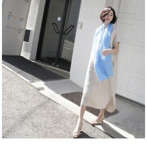 ワンピース レディース 40代 50代 60代 ファッション 女性 上品  茶色 ベージュリネン 半袖 ロング丈 無地 きれいめ 春 ミセス|alice-style|05
