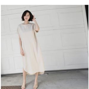 ワンピース レディース 40代 50代 60代 ファッション 女性 上品  茶色 ベージュリネン 半袖 ロング丈 無地 きれいめ 春 ミセス|alice-style|07