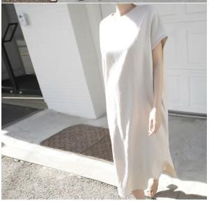 ワンピース レディース 40代 50代 60代 ファッション 女性 上品  茶色 ベージュリネン 半袖 ロング丈 無地 きれいめ 春 ミセス|alice-style|08