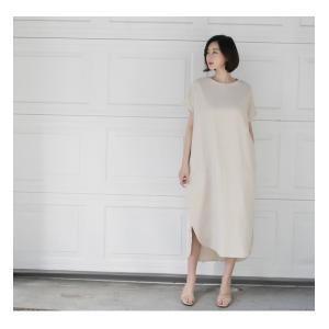 ワンピース レディース 40代 50代 60代 ファッション 女性 上品  茶色 ベージュリネン 半袖 ロング丈 無地 きれいめ 春 ミセス|alice-style|10