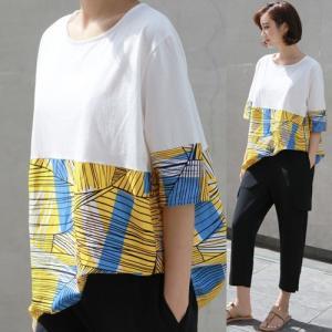 トップス レディース 40代 50代 60代 ファッション 女性 上品 Tシャツ 切り替え 柄 半袖 春夏 ミセス|alice-style