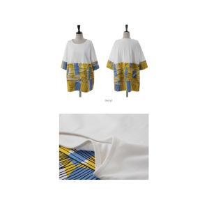 トップス レディース 40代 50代 60代 ファッション 女性 上品 Tシャツ 切り替え 柄 半袖 春夏 ミセス|alice-style|02