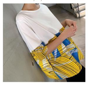 トップス レディース 40代 50代 60代 ファッション 女性 上品 Tシャツ 切り替え 柄 半袖 春夏 ミセス|alice-style|12
