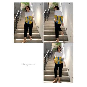 トップス レディース 40代 50代 60代 ファッション 女性 上品 Tシャツ 切り替え 柄 半袖 春夏 ミセス|alice-style|13