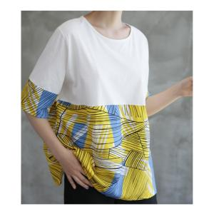 トップス レディース 40代 50代 60代 ファッション 女性 上品 Tシャツ 切り替え 柄 半袖 春夏 ミセス|alice-style|14