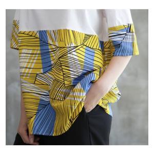 トップス レディース 40代 50代 60代 ファッション 女性 上品 Tシャツ 切り替え 柄 半袖 春夏 ミセス|alice-style|15