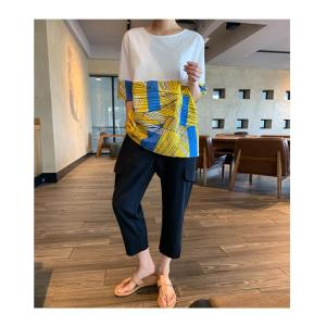 トップス レディース 40代 50代 60代 ファッション 女性 上品 Tシャツ 切り替え 柄 半袖 春夏 ミセス|alice-style|16