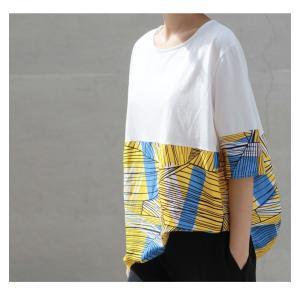 トップス レディース 40代 50代 60代 ファッション 女性 上品 Tシャツ 切り替え 柄 半袖 春夏 ミセス|alice-style|17