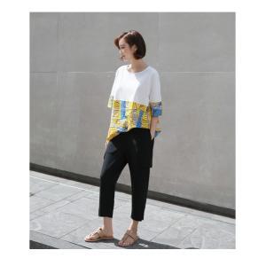 トップス レディース 40代 50代 60代 ファッション 女性 上品 Tシャツ 切り替え 柄 半袖 春夏 ミセス|alice-style|18