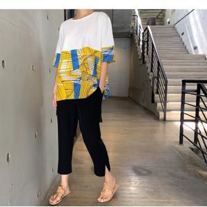 トップス レディース 40代 50代 60代 ファッション 女性 上品 Tシャツ 切り替え 柄 半袖 春夏 ミセス|alice-style|19