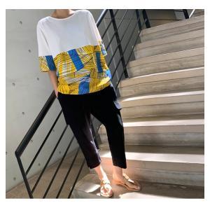 トップス レディース 40代 50代 60代 ファッション 女性 上品 Tシャツ 切り替え 柄 半袖 春夏 ミセス|alice-style|03