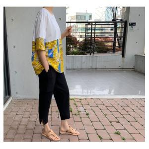 トップス レディース 40代 50代 60代 ファッション 女性 上品 Tシャツ 切り替え 柄 半袖 春夏 ミセス|alice-style|05