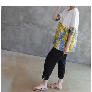 トップス レディース 40代 50代 60代 ファッション 女性 上品 Tシャツ 切り替え 柄 半袖 春夏 ミセス|alice-style|06
