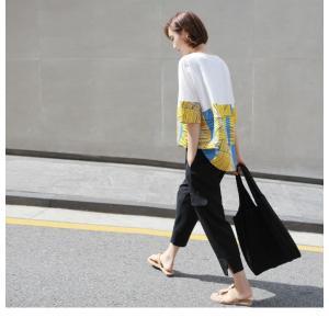 トップス レディース 40代 50代 60代 ファッション 女性 上品 Tシャツ 切り替え 柄 半袖 春夏 ミセス|alice-style|10