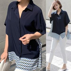 ブラウス レディース 40代 50代 60代 ファッション 女性 上品  紺 青 シャツ 切り替え 幾何学模様 半袖 春夏 ミセス|alice-style