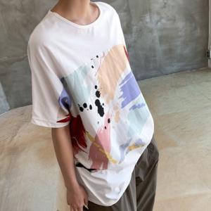 Tシャツ レディース 40代 50代 60代 ファッション 女性 上品 トップス プリント 半袖 春夏 ミセス|alice-style