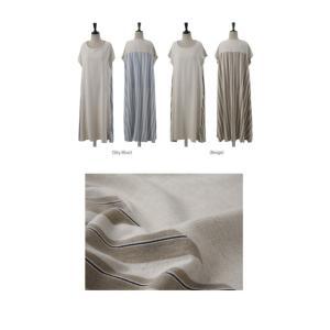 ワンピース レディース 大人 40代 50代 60代 ファッション 女性 上品 ベージュ ロング丈 半袖 ストライプ ゆったり 体形カバー 春夏 ミセス|alice-style