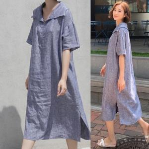 ワンピース レディース 40代 50代 60代 ファッション 女性 上品  ベージュ  紺 青 半袖 ロング丈 きれいめ リネン100% 春夏 ミセス alice-style