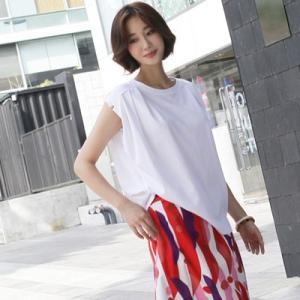 Tシャツ レディース 40代 50代 60代 ファッション 女性 上品  白  イエロー  黄色 ノースリーブ 無地 ゆったり トップス 春夏 ミセス|alice-style