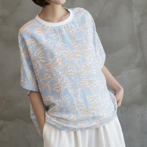 Tシャツ レディース 40代 50代 60代 ファッション 女性 上品 トップス ボタニカル柄 半袖 体形カバー 春夏 ミセス|alice-style