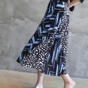 スカート レディース 40代 50代 60代 ファッション 女性 上品  黒  茶色 ロング丈 切り替え 柄 春夏 ミセス|alice-style