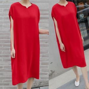 ロングワンピース レディース 40代 50代 60代 ファッション 女性 上品  黒  赤 半袖 無地 膝丈 きれいめ 大人 春 夏 ミセス|alice-style