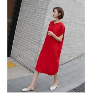 ロングワンピース レディース 40代 50代 60代 ファッション 女性 上品  黒  赤 半袖 無地 膝丈 きれいめ 大人 春 夏 ミセス|alice-style|11