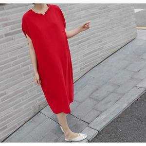 ロングワンピース レディース 40代 50代 60代 ファッション 女性 上品  黒  赤 半袖 無地 膝丈 きれいめ 大人 春 夏 ミセス|alice-style|12