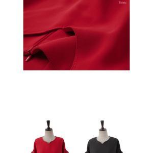 ロングワンピース レディース 40代 50代 60代 ファッション 女性 上品  黒  赤 半袖 無地 膝丈 きれいめ 大人 春 夏 ミセス|alice-style|13