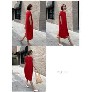 ロングワンピース レディース 40代 50代 60代 ファッション 女性 上品  黒  赤 半袖 無地 膝丈 きれいめ 大人 春 夏 ミセス|alice-style|03