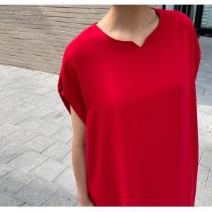 ロングワンピース レディース 40代 50代 60代 ファッション 女性 上品  黒  赤 半袖 無地 膝丈 きれいめ 大人 春 夏 ミセス|alice-style|04