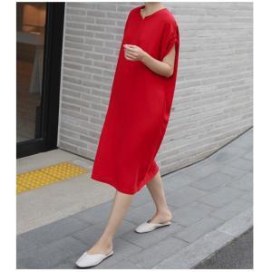 ロングワンピース レディース 40代 50代 60代 ファッション 女性 上品  黒  赤 半袖 無地 膝丈 きれいめ 大人 春 夏 ミセス|alice-style|05