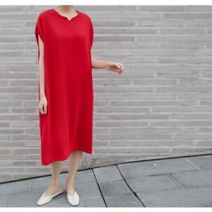 ロングワンピース レディース 40代 50代 60代 ファッション 女性 上品  黒  赤 半袖 無地 膝丈 きれいめ 大人 春 夏 ミセス|alice-style|06