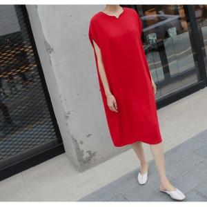 ロングワンピース レディース 40代 50代 60代 ファッション 女性 上品  黒  赤 半袖 無地 膝丈 きれいめ 大人 春 夏 ミセス|alice-style|07